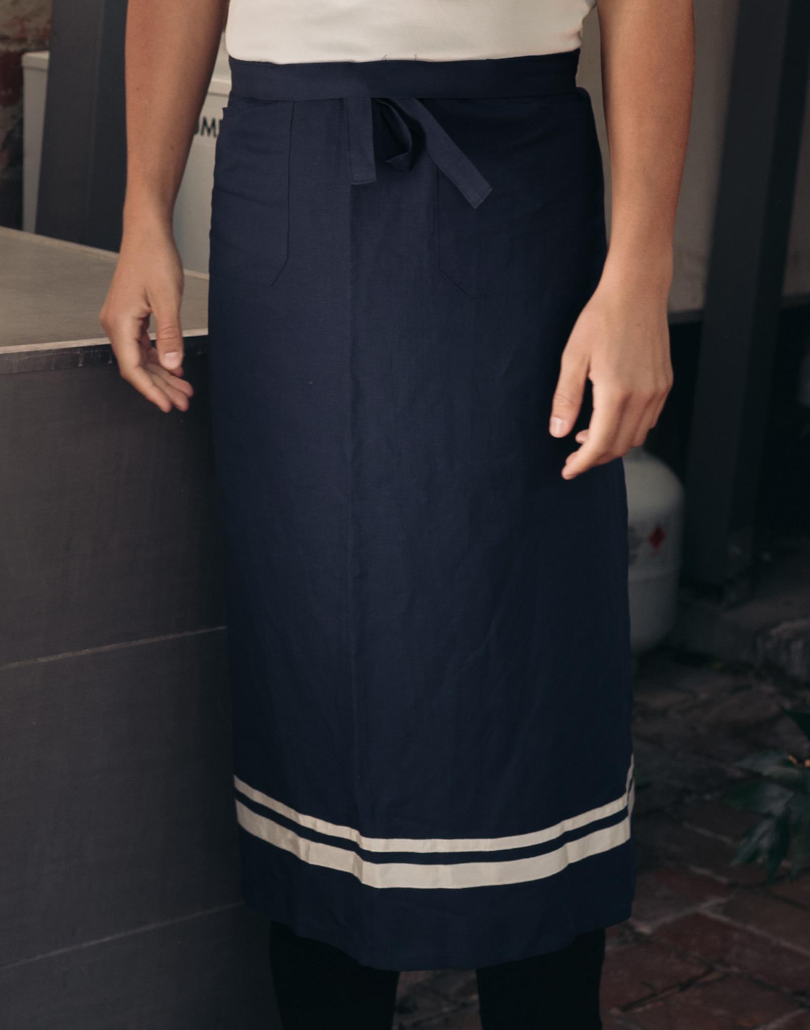 Soft linen poket waist apron #AA1892 Navy