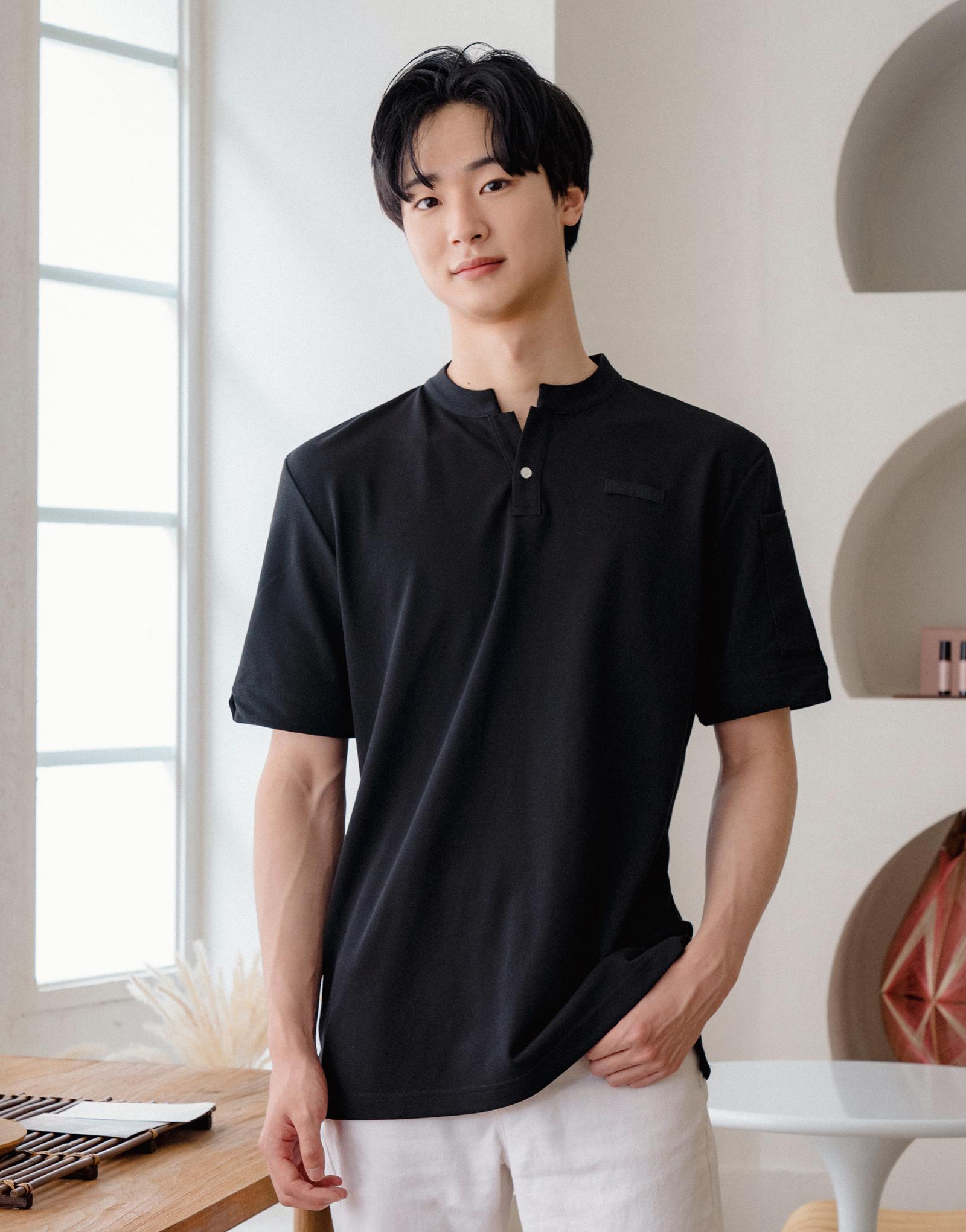 China kara one button PK T-shirt #AT1997 Black