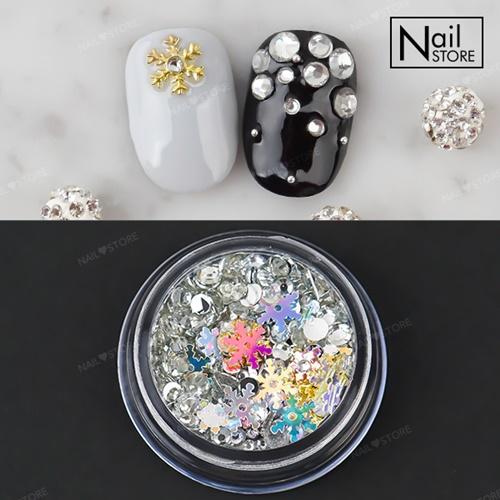 판타지 눈꽃 믹스(case)-3 / 눈꽃메탈참+눈꽃스팽글+크리스톤+참스톤/크리스마스네일추천