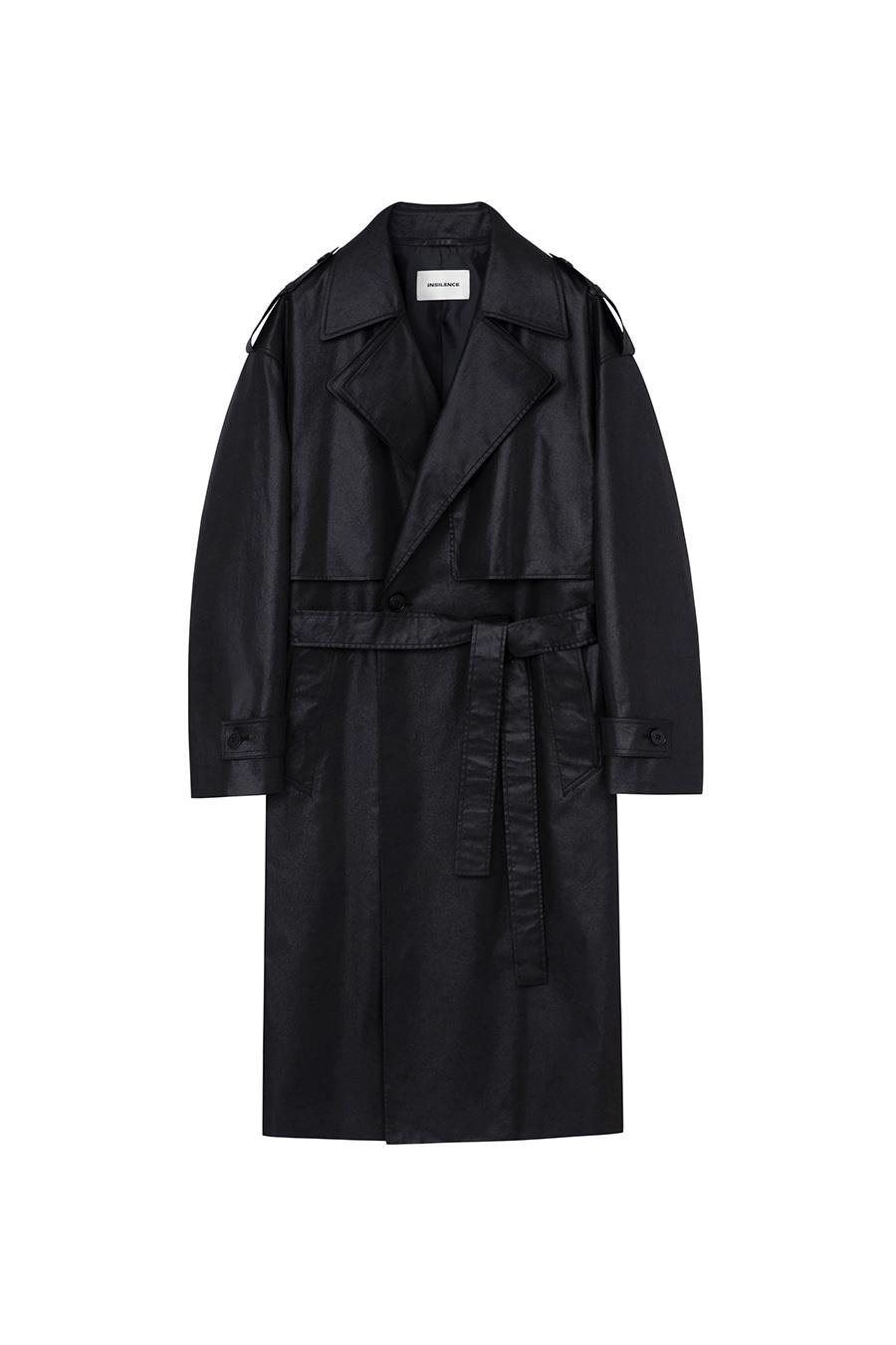 (예약발송) 친츠 코튼 트렌치 코트 BLACK