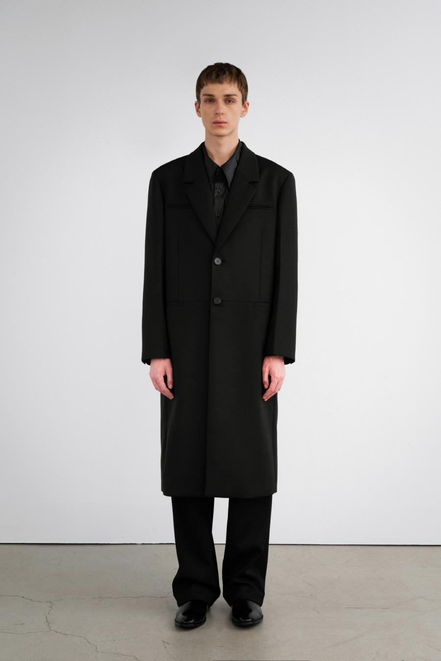 MIROGLIO 미니멀 싱글 코트 BLACK