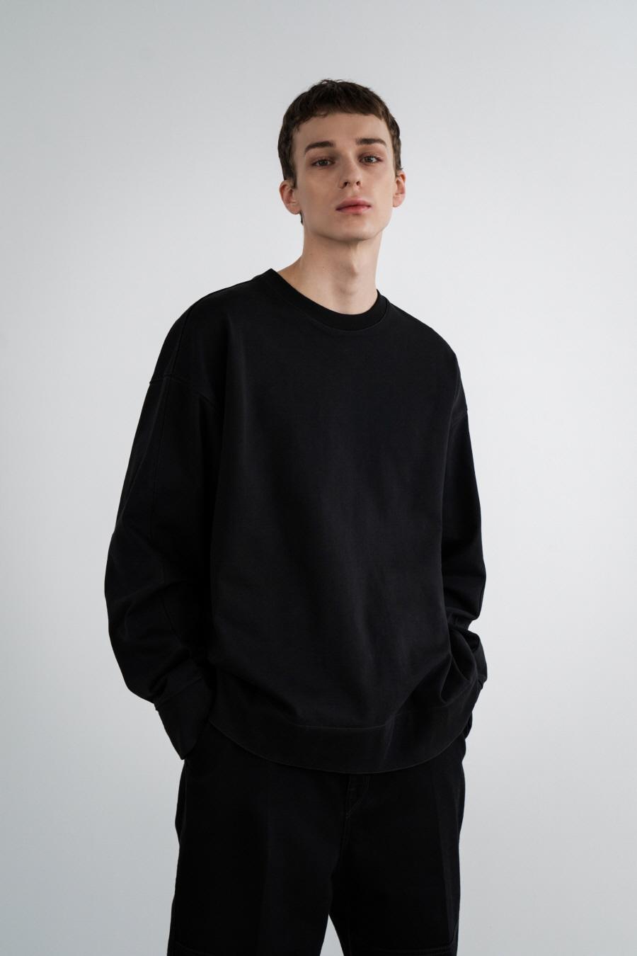 라이트웨이트 패널 스웨트셔츠 BLACK