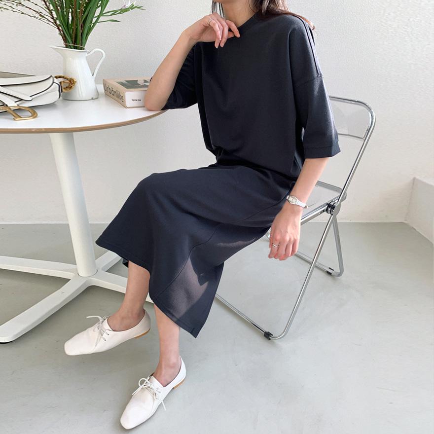 Basic Straight Cut Elastic Waist Skirt