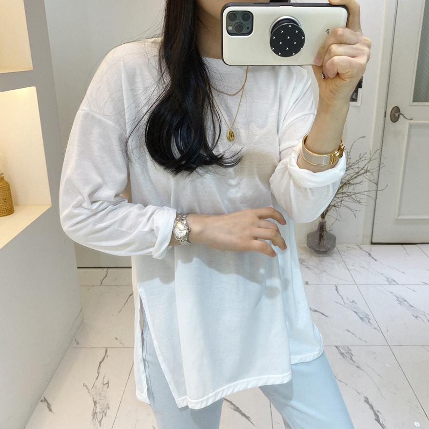 Side Slit Cotton Blend T-Shirt