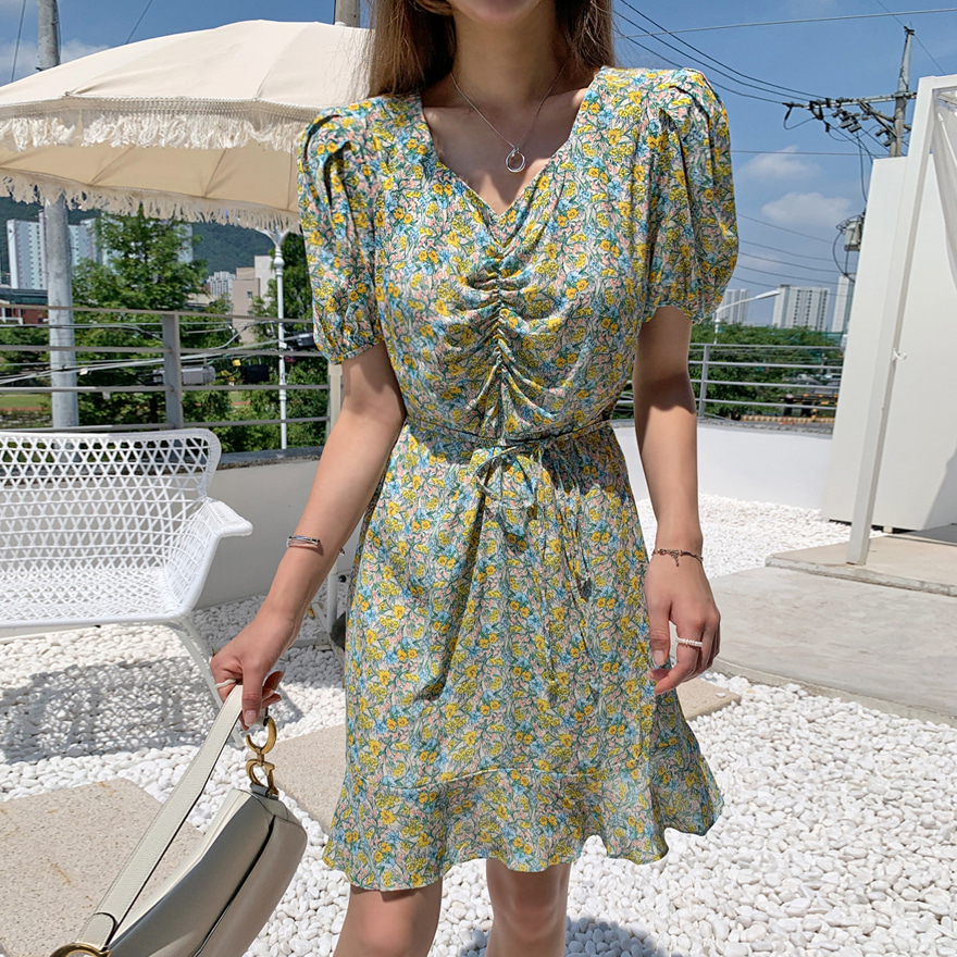 Ruched Front Mini Floral Dress