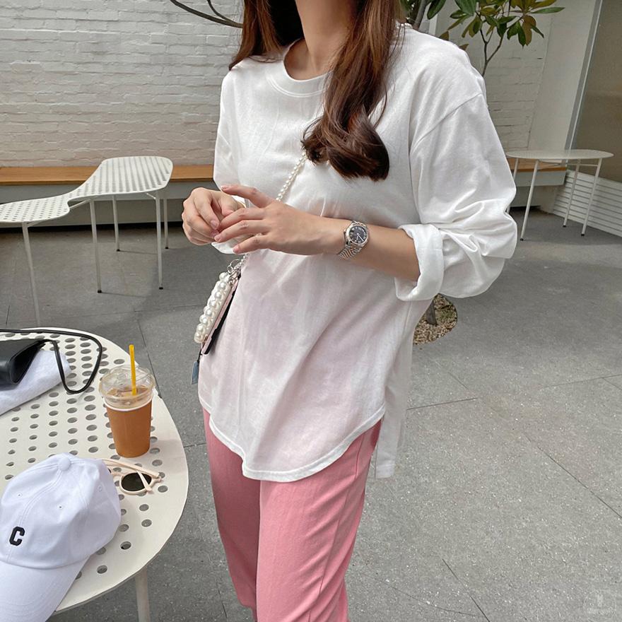 Asymmetrical Hem Cotton T-Shirt