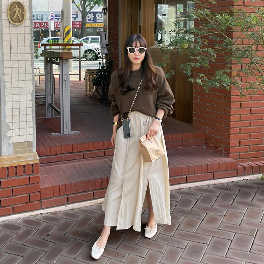 纯色长款裹身半身裙