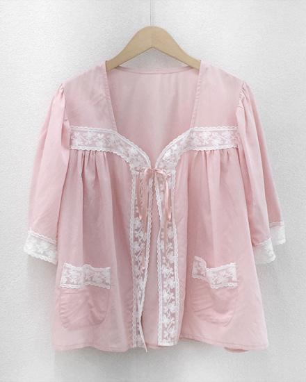 핑크 레이스 매듭 블라우스(새상품)