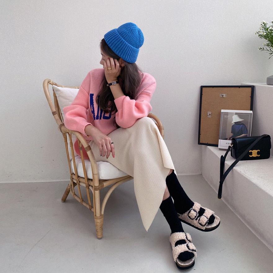 罗纹折边纯色针织帽