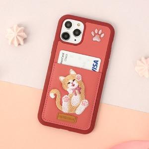 아이폰11프로맥스 고양이 자수 포켓 카드케이스, 디자인스킨 케이스 몰, 커플케이스, 튼튼한케이스, 고급케이스, 아이폰케이스, 갤럭시케이스, 자수케이스