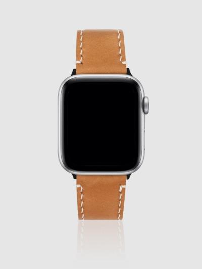 애플워치 44mm 프리미엄 가죽 스트랩 탄브라운/블랙-M, 디자인스킨 케이스 몰, 커플케이스, 아이폰케이스, 갤럭시케이스, 자수케이스