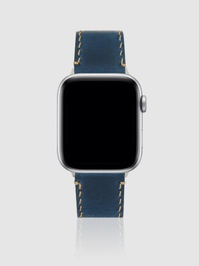 애플워치 44mm 프리미엄 가죽 스트랩 네이비/실버-M, 디자인스킨 케이스 몰, 커플케이스, 아이폰케이스, 갤럭시케이스, 자수케이스