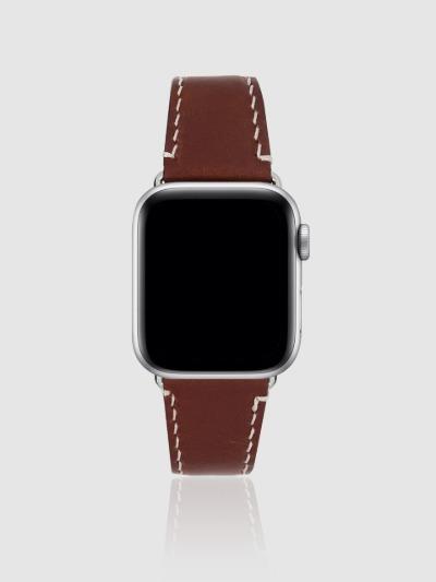 애플워치 44mm 프리미엄 가죽 스트랩 초코브라운/실버-M, 디자인스킨 케이스 몰, 커플케이스, 아이폰케이스, 갤럭시케이스, 자수케이스