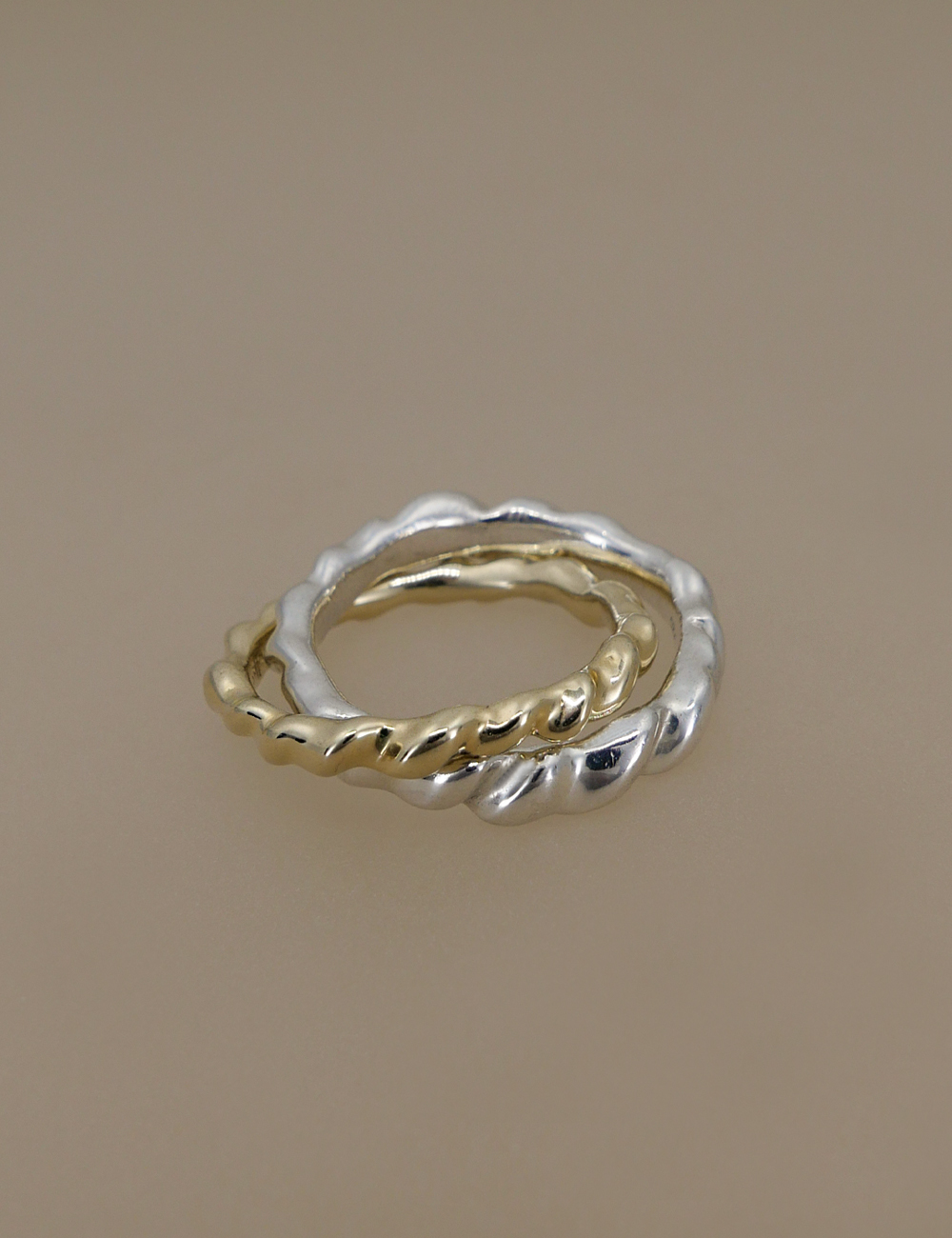 Modern Twist Double Ring / Silver & 9k Yellow Gold