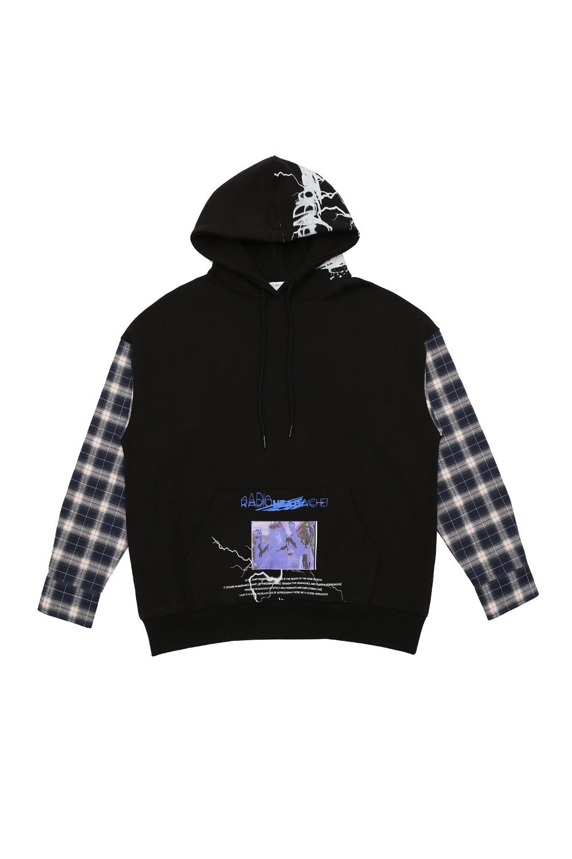 [I4P] Check Sleeve Hood Blue Color