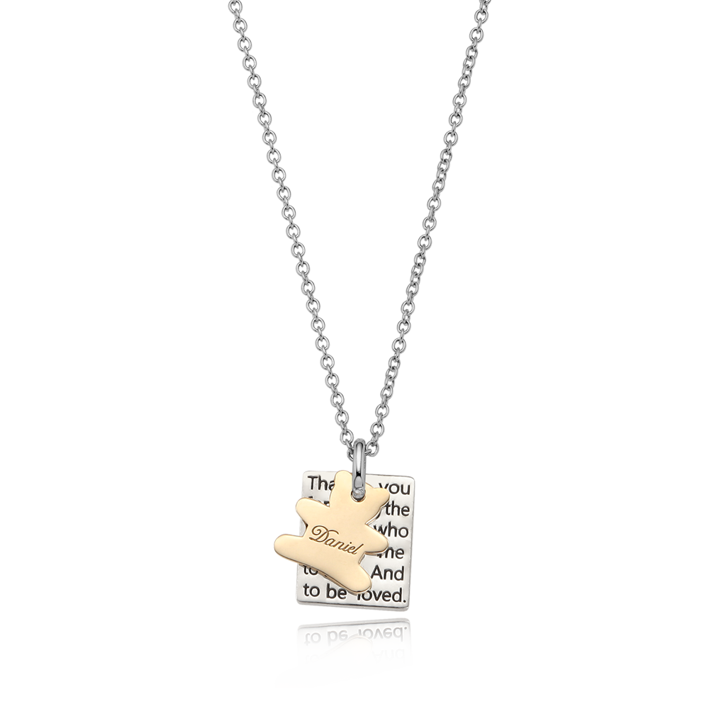 Sterling Silver  Square Plate - 5K (Gold 20%) Heart Charm Personalised Necklace