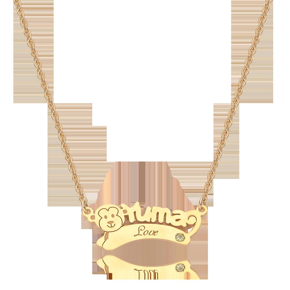 14K/18K Gold Oriental Zodiac Monkey Name Necklace