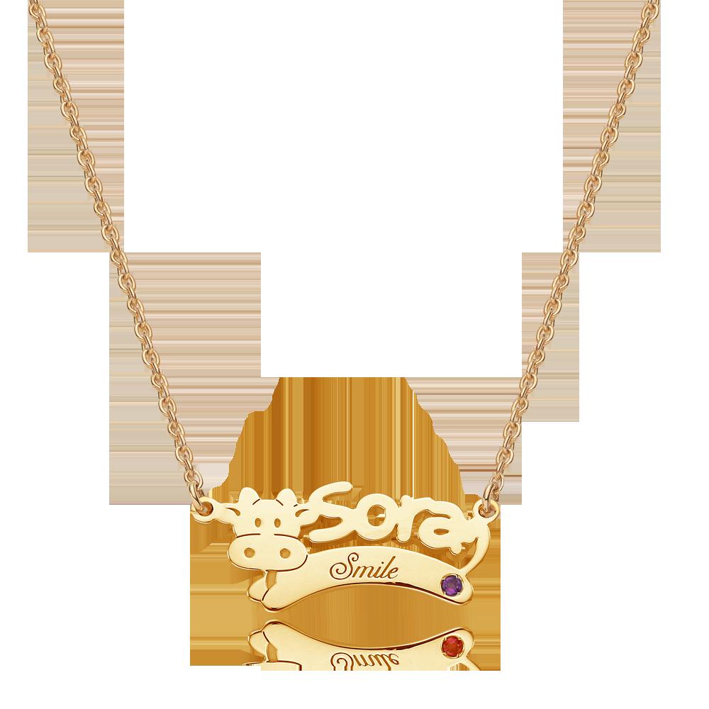 14K/18K Gold Zodiac Ox Name Necklace