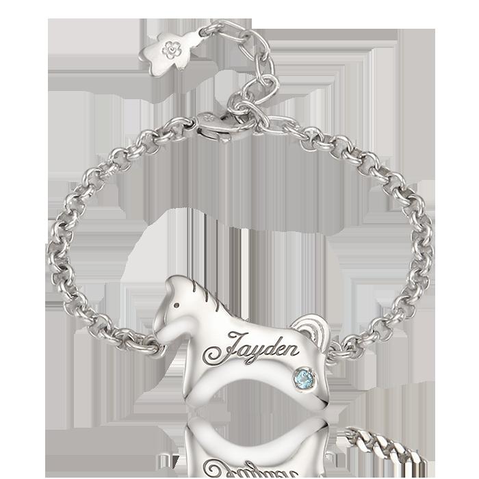 Silver Simple Horse Baby Bracelet