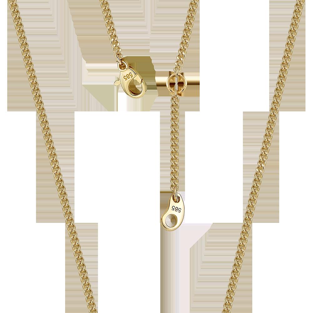 14K/18K Gold 1.0 Curb Chain 37cm(34+3cm)