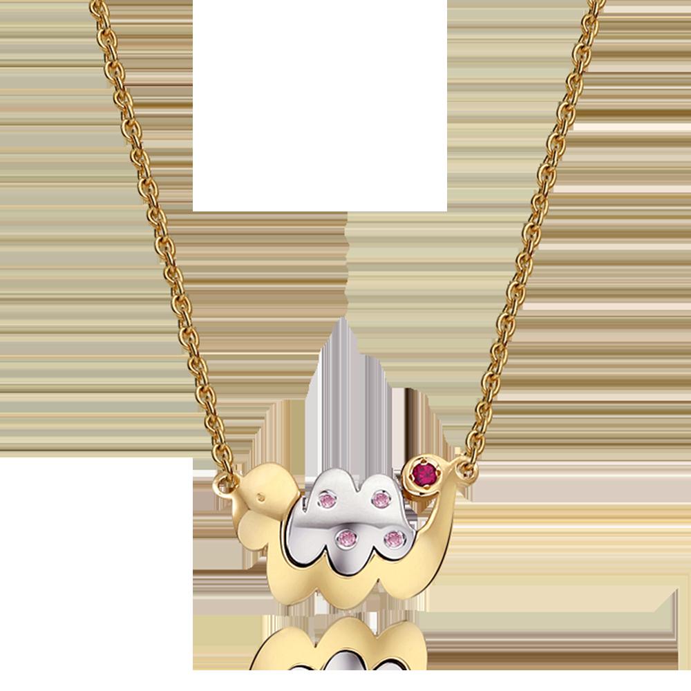 14K/18K Gold Oriental Zodiac Snake(Pink) Necklace