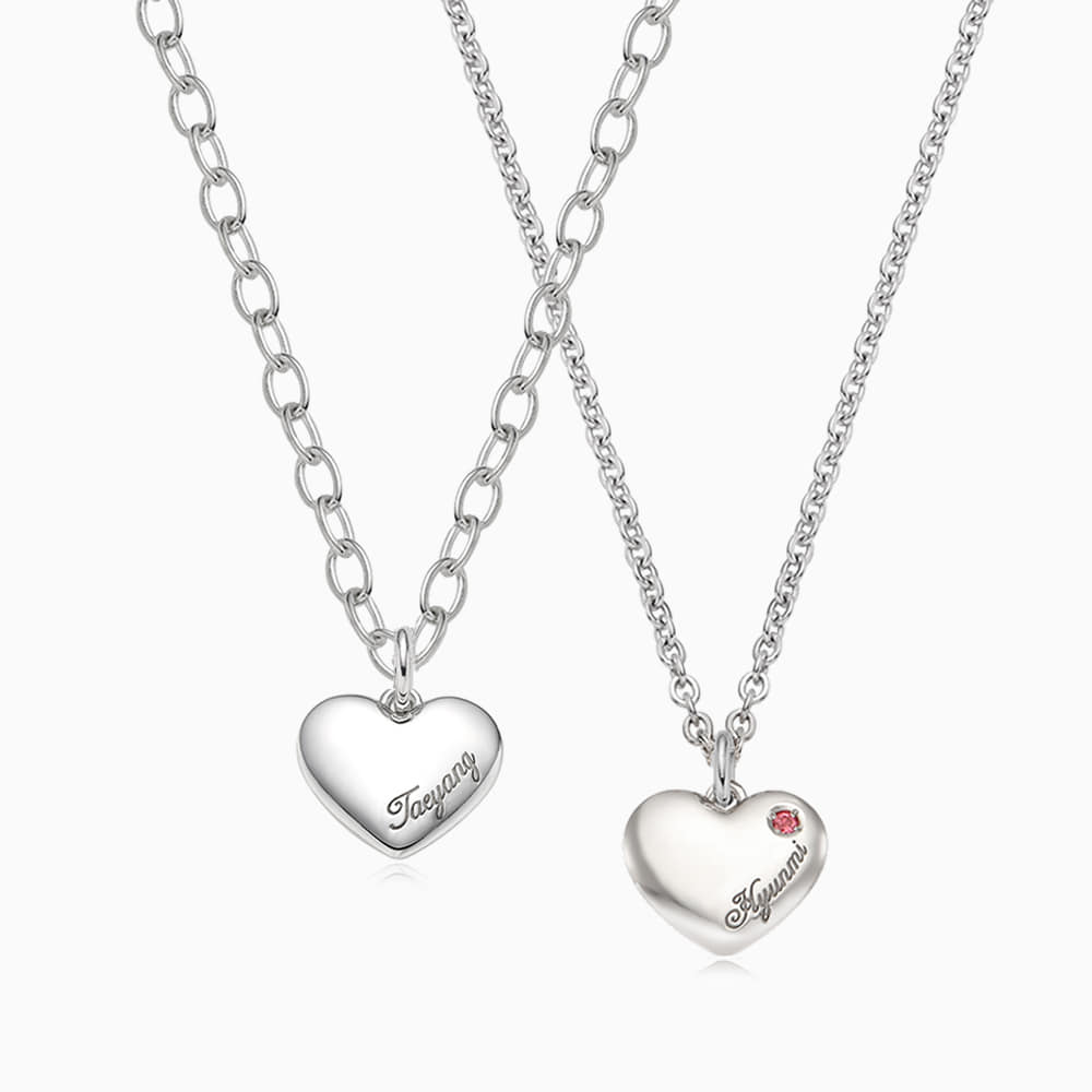 [With my Pet] Silver Simple Heart Necklace(Small)