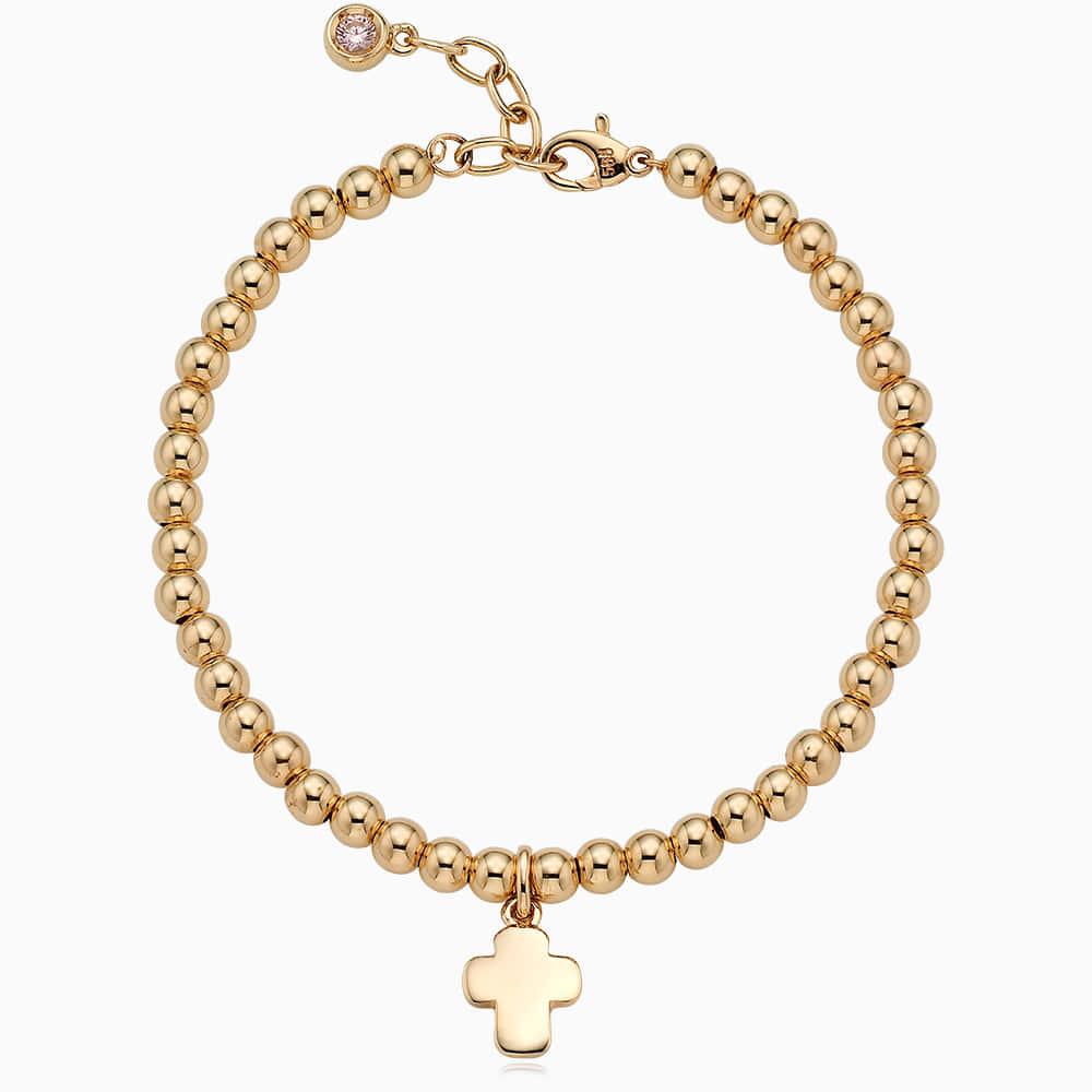 14K /18K Gold Cross Pendant 4.0mmBall Birthstone Bracelet[16+2.5cm]