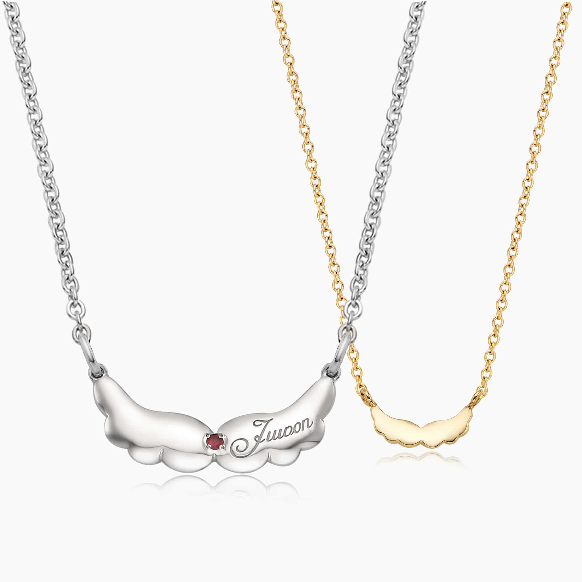 [With My Child] Silver/14K/18K Angel Wings Necklace