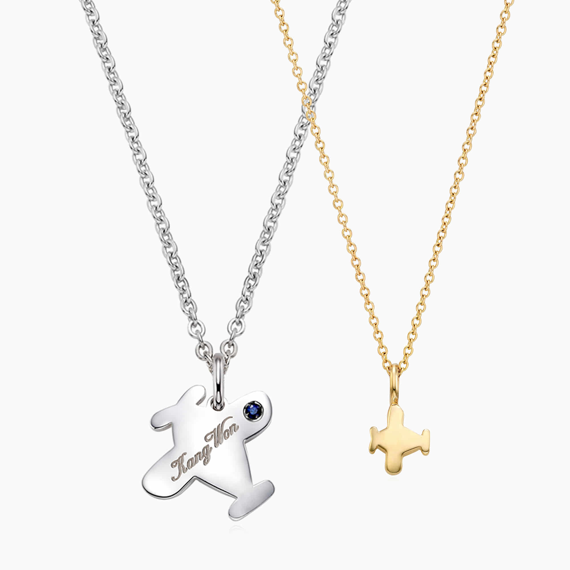 [With My Child] Silver/14K/18K B339 Airplane Necklace