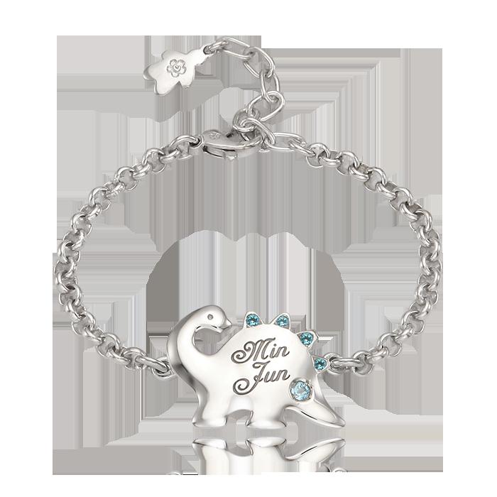 Silver Dinosaur Blue Cubic Prevention Bracelet
