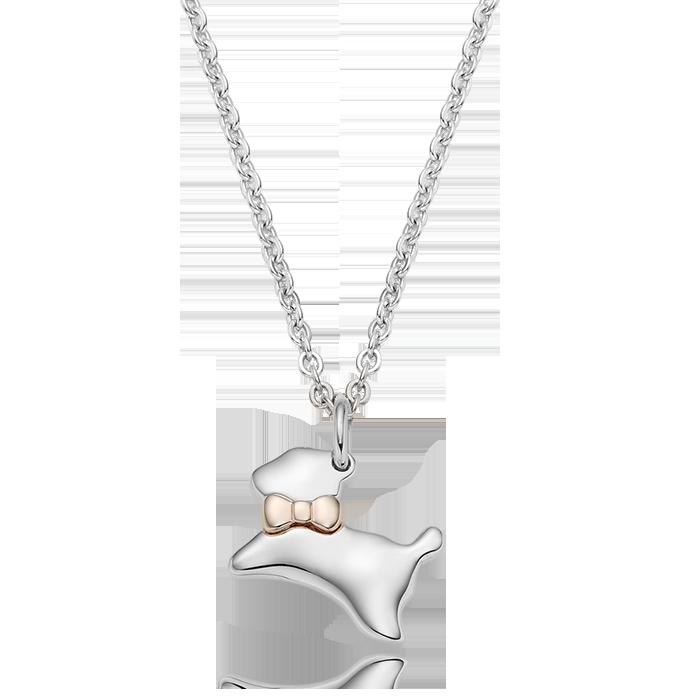 5K GOLD Oriental Zodiac Dog Baby Silver Necklace