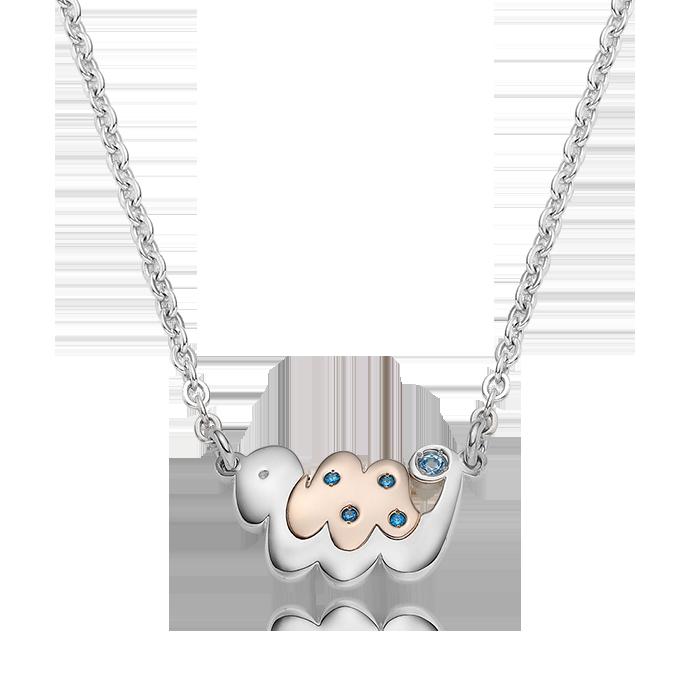 5K GOLD Oriental Zodiac Snake(Blue) Baby Silver Necklace