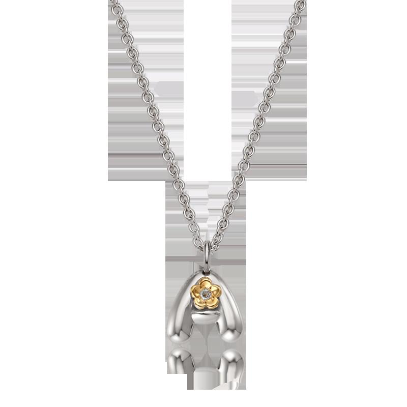 Alphabet A 5K Flower Birthstone Silver Necklace