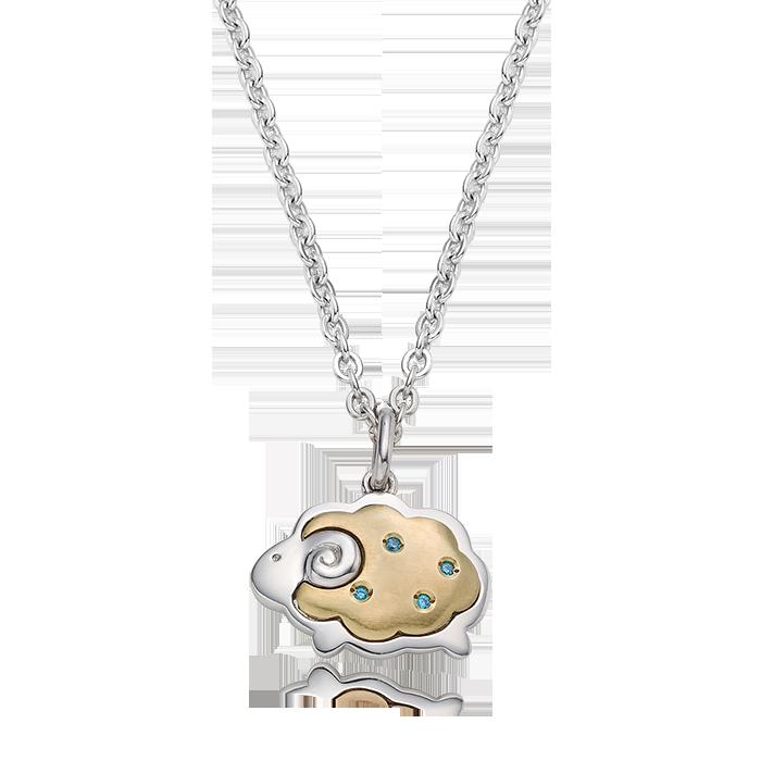 5K GOLD Oriental Zodiac Sheep(Blue) Baby Silver Necklace