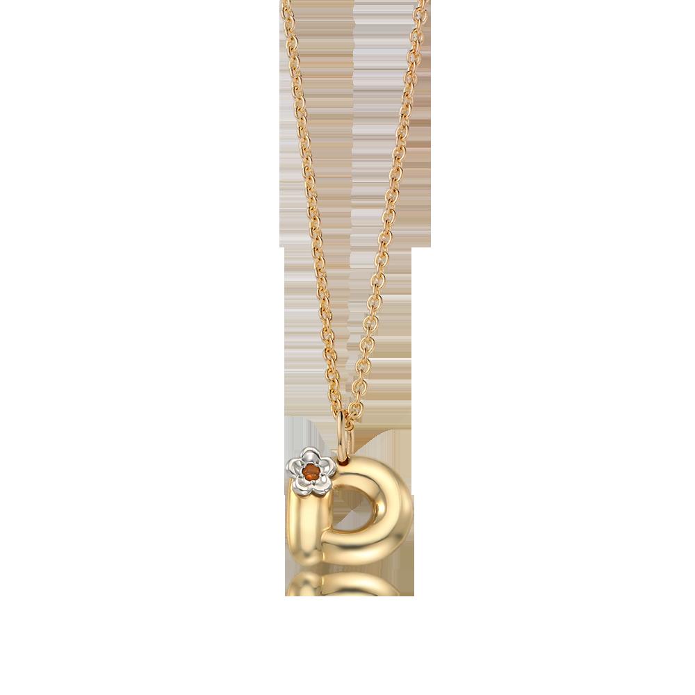 14K / 18K Gold Alphabet D Birthstone Necklace