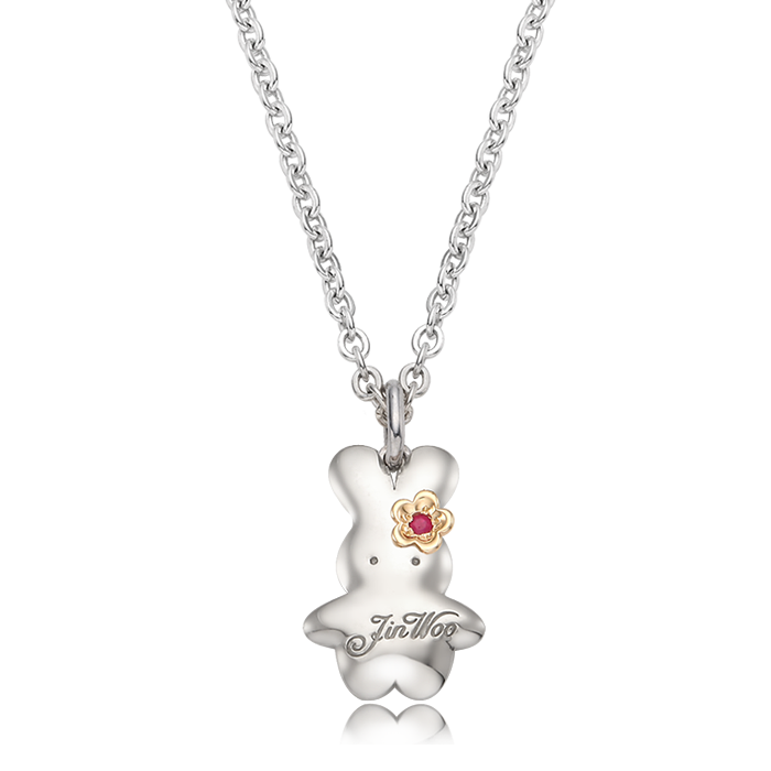 Birthstone Silver BabyRabbit Necklace with a 5K flower charm/ Lost Child Prevention Necklace
