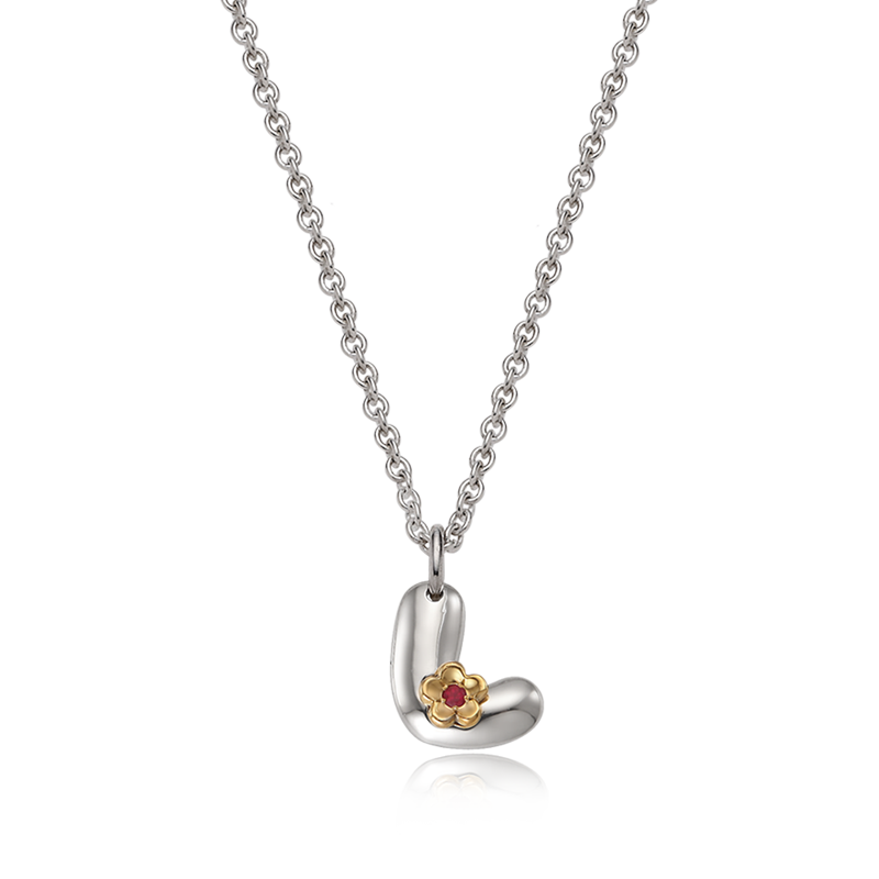 Alphabet L 5K Flower Birthstone Silver Necklace
