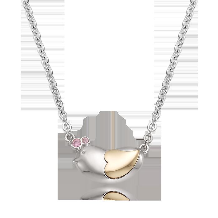 5K GOLD Oriental Zodiac Chicken Baby Silver Necklace(Pink)