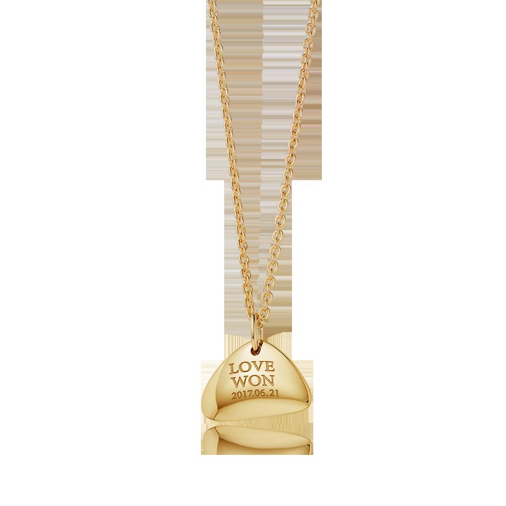 14K / 18K Gold Modern Shape Triangle Necklace Adult