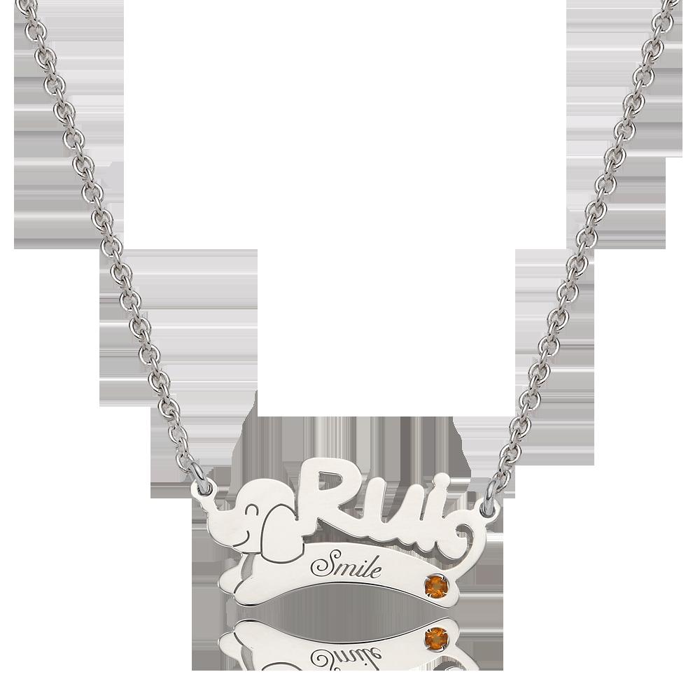 Silver Oriental Zodiac Dog Engraved Birthstone Name Necklace