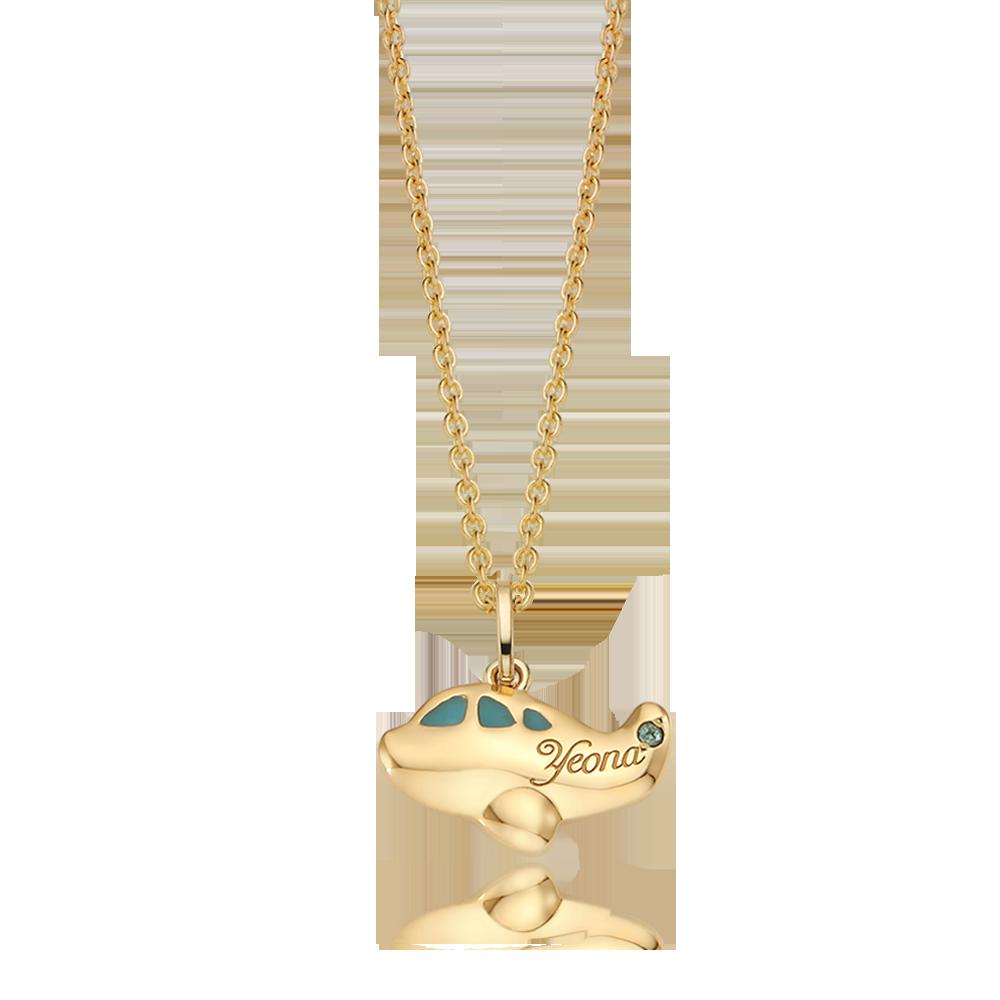 14K / 18K Gold Kid Plane Blue Necklace