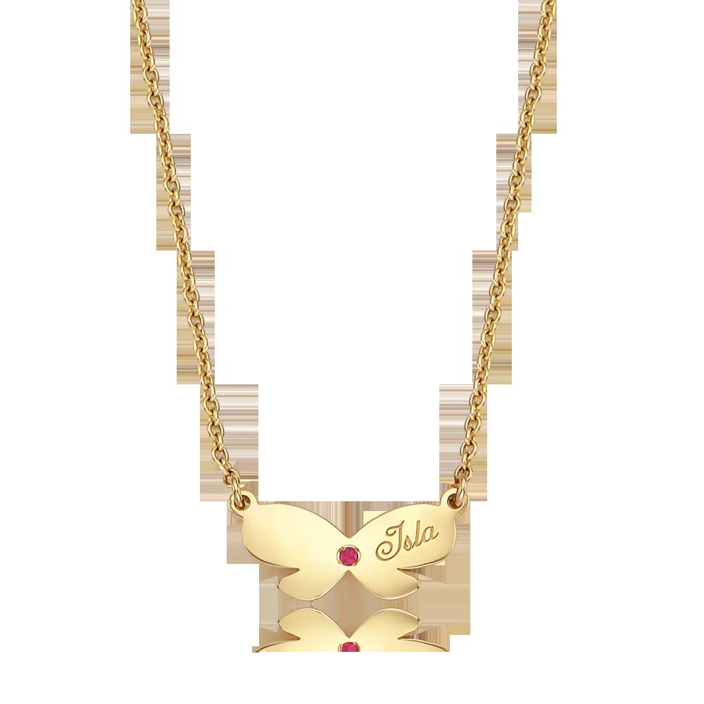 14K / 18K Gold Birthstone Ribbon Necklace