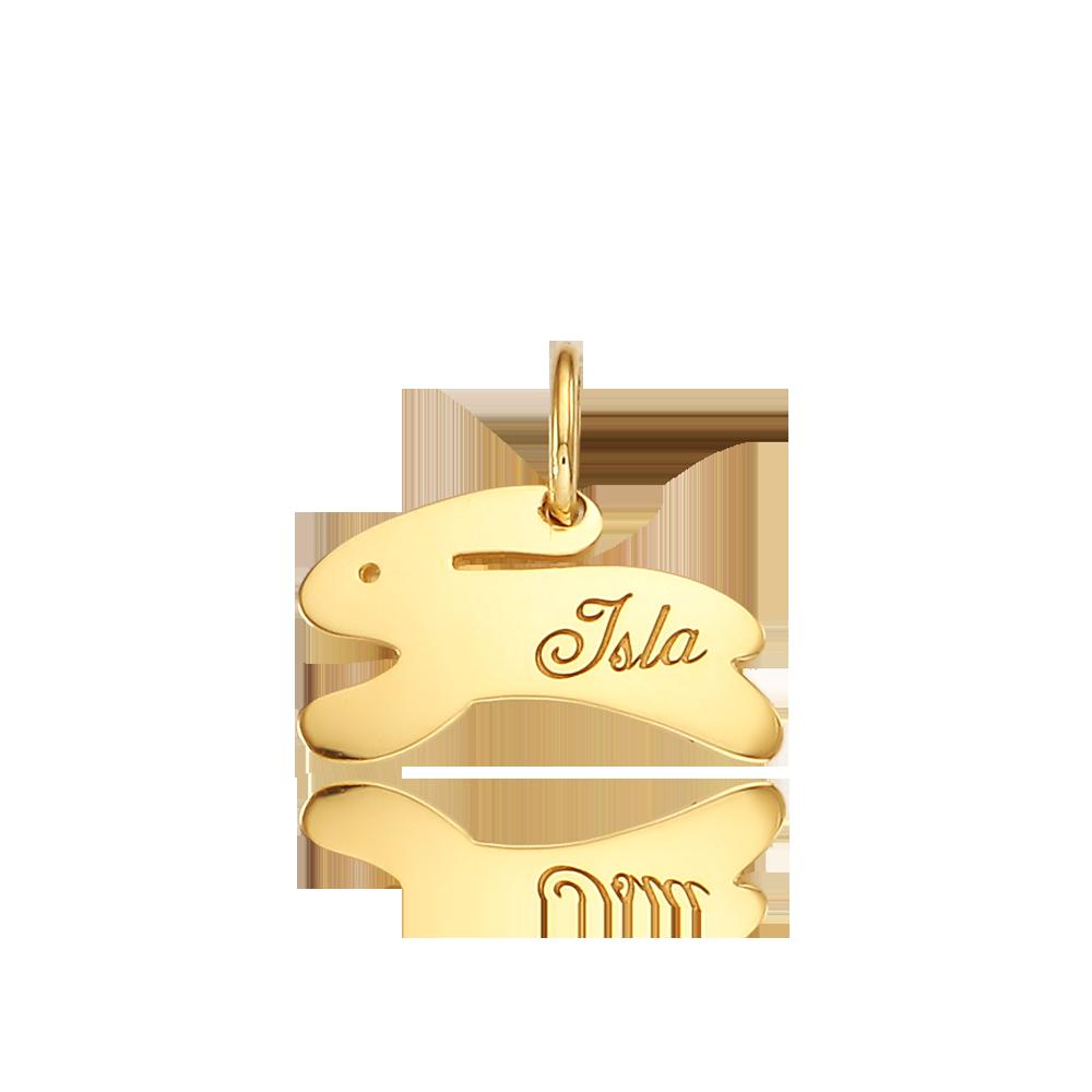 14k/18k Gold Rabbit Running Pendant