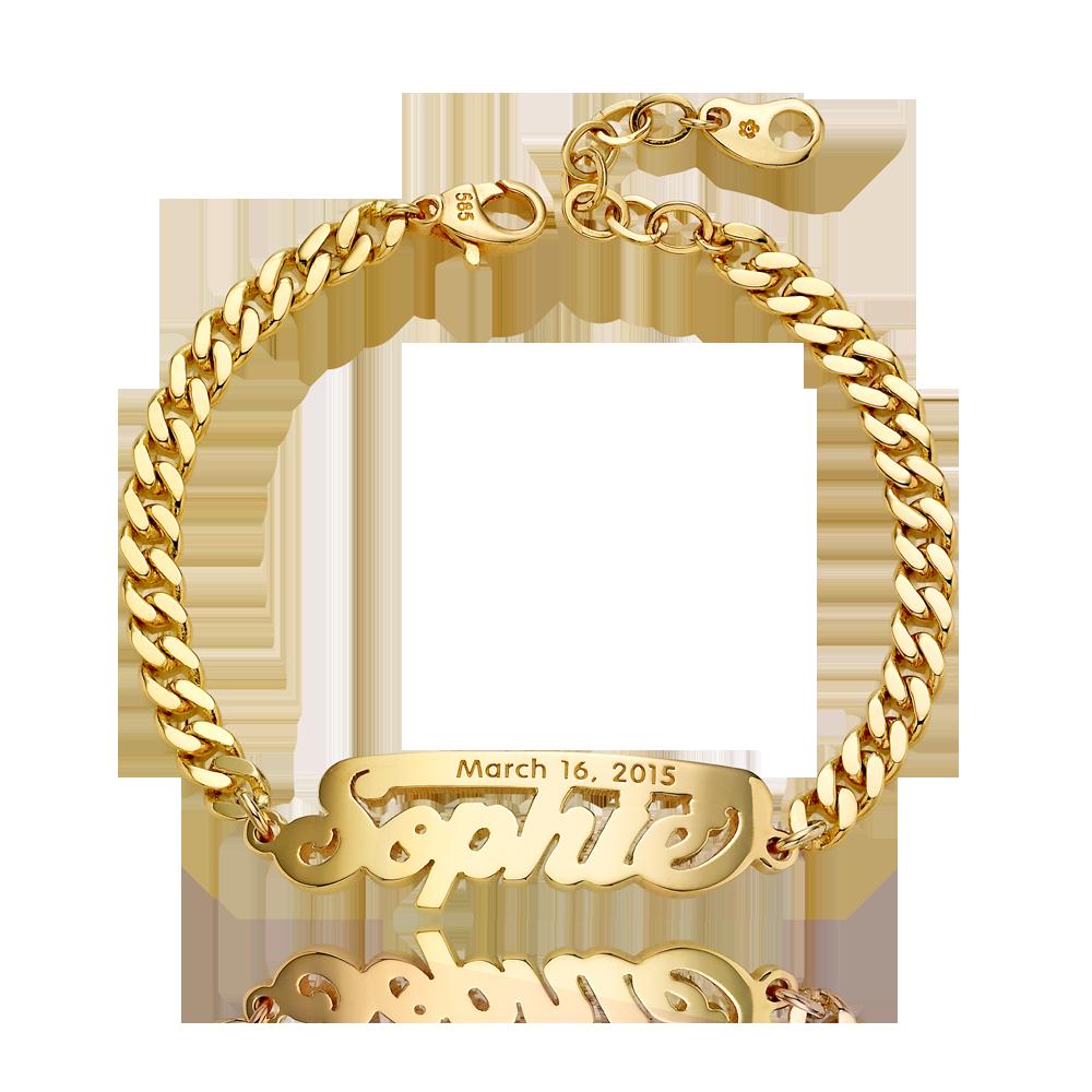 14K / 18K Gold Grace Stick名称手链