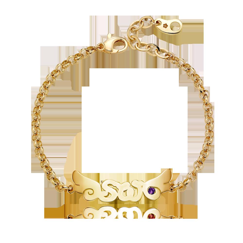 14K / 18K Gold Angel Wings Birthstone English Initial Bracelet