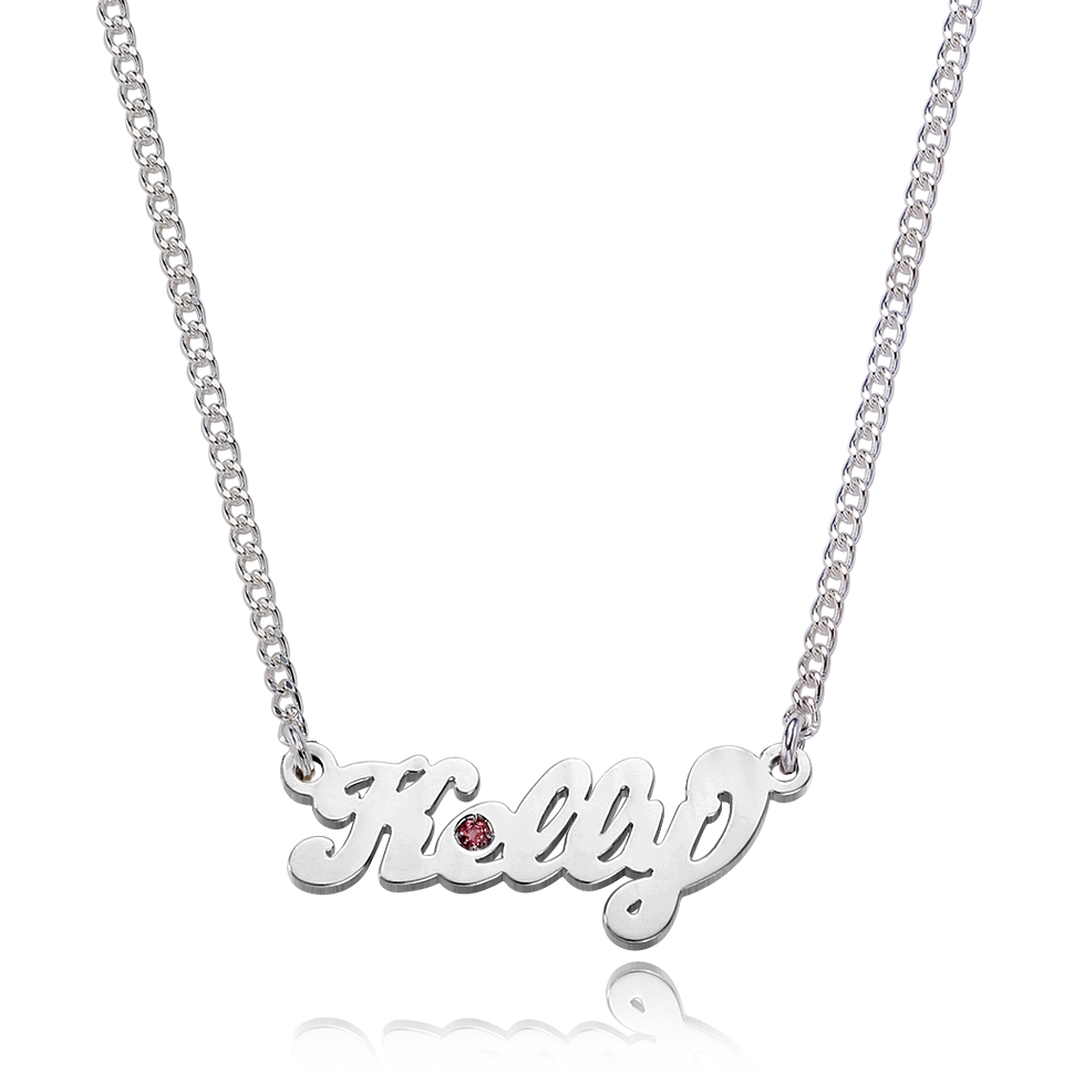 Silver Grace Birthstone Name Necklace