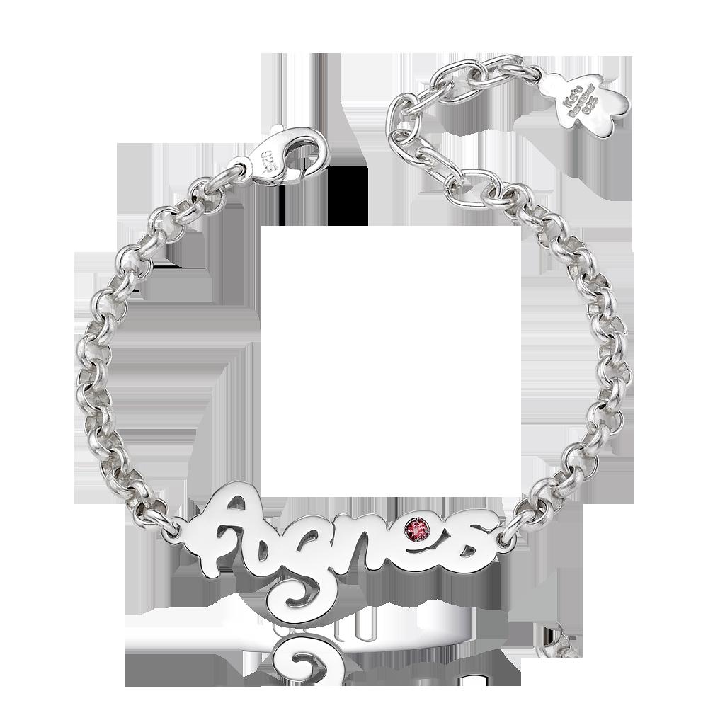 Silver Junior Birthstone Name Bracelet