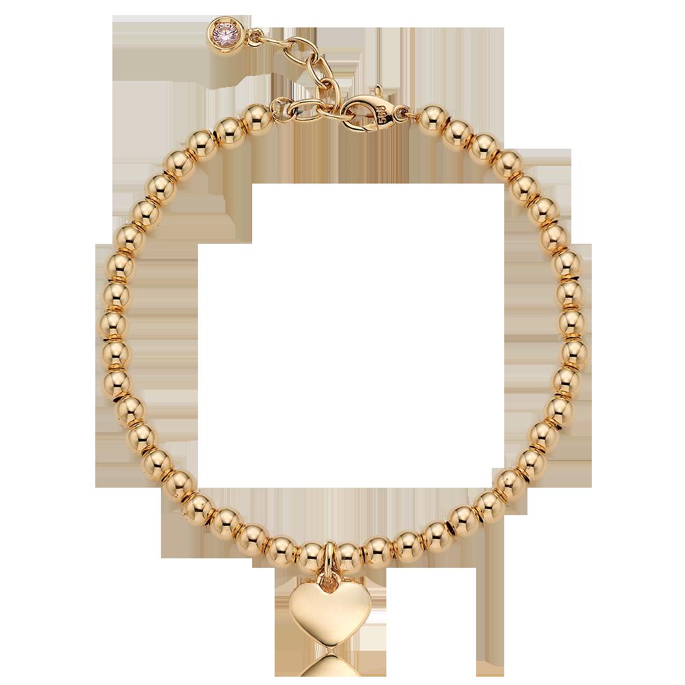14K /18K Gold Heart Pendant 4.0mm Ball Birthstone Bracelet[16+2.5cm]