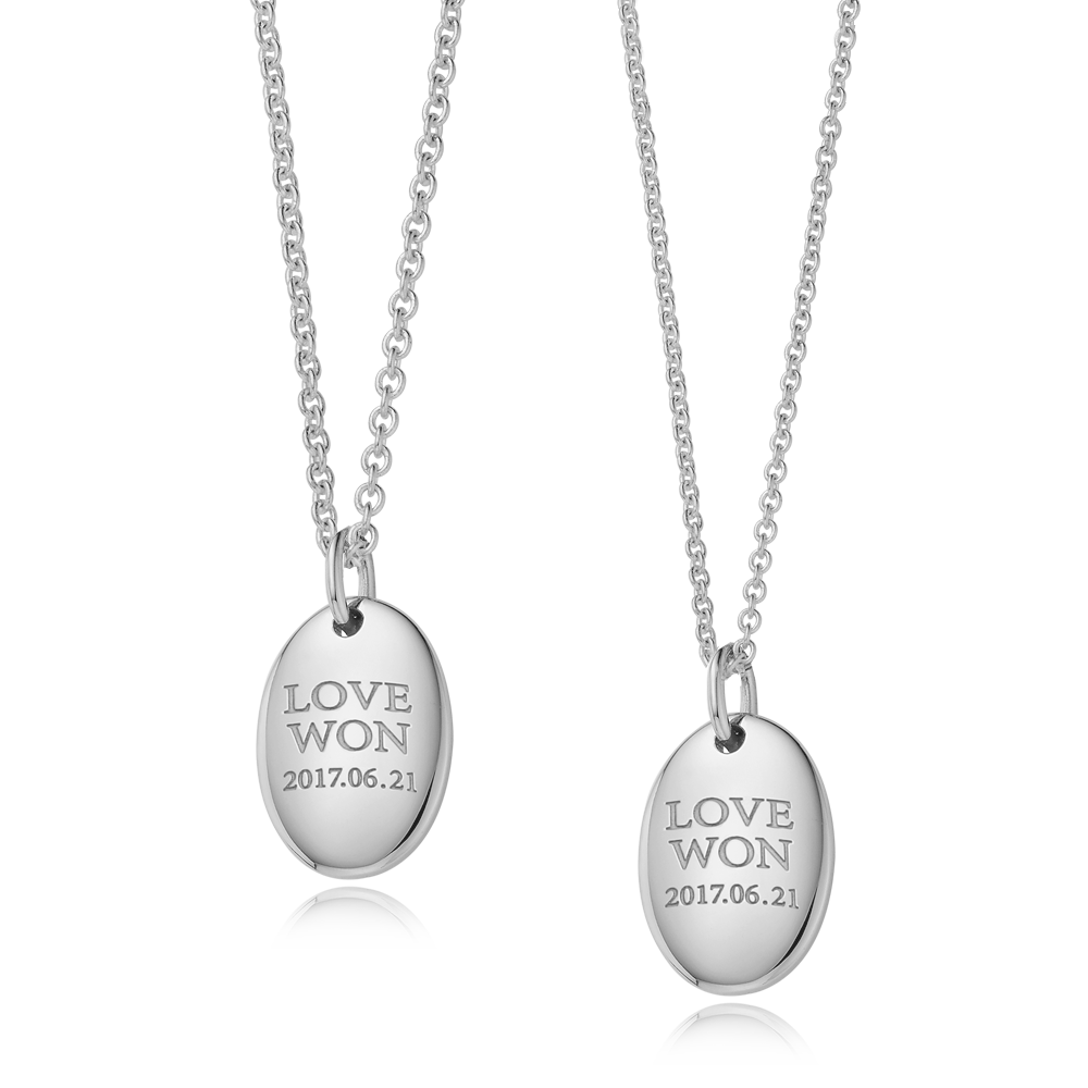 [With My Child] Modern Shape Oval Silver Couple Necklace