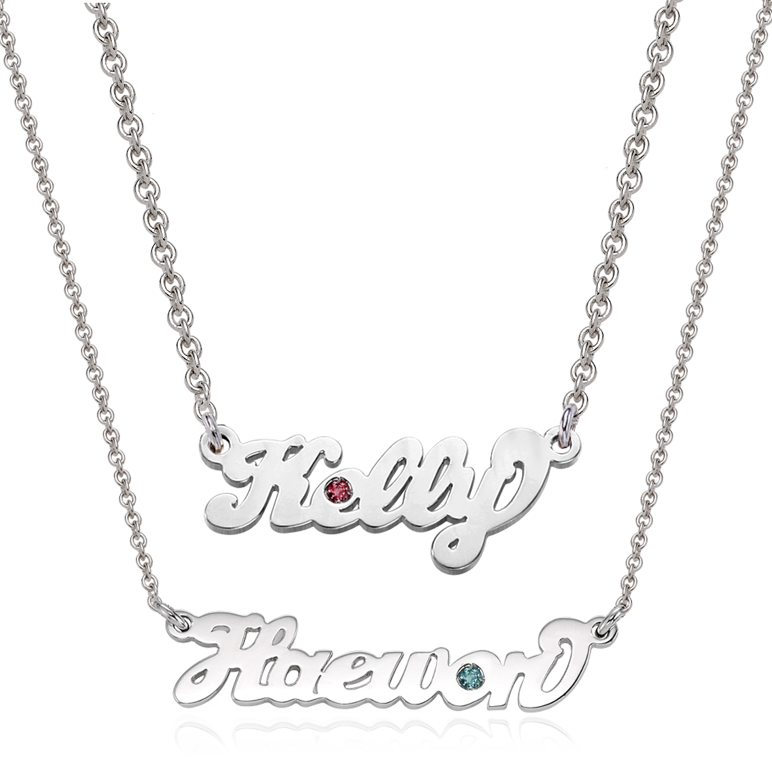 [With My Child] Silver Grace Birthstone Name Necklace